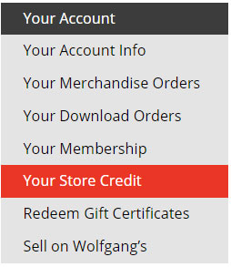 Your Account Store Credit Link